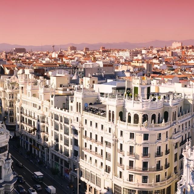 """Sunrise in Madrid"" stock image"