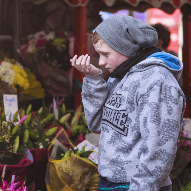 """""""The cold flower seller"""" stock image"""