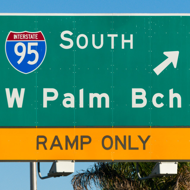 """West Palm Beach Road Sign"" stock image"