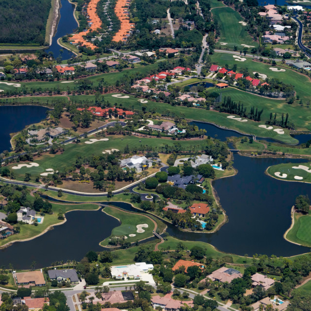 """West Palm Beach - golf course and ponds"" stock image"