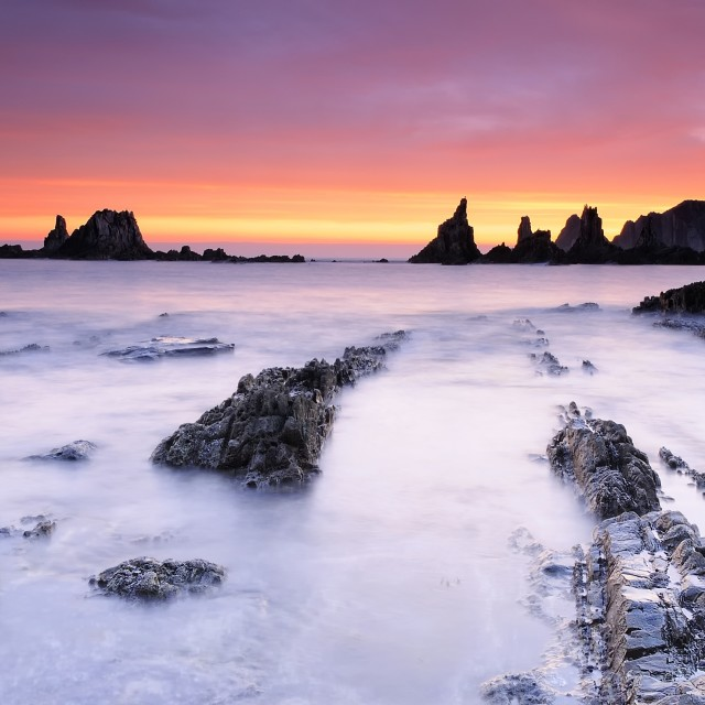 """""""Sunrise on the Bay of Biscay."""" stock image"""