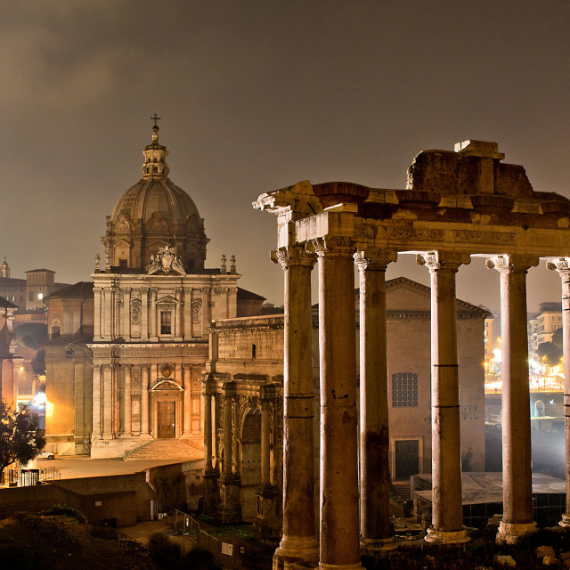 """Roman forum by night"" stock image"