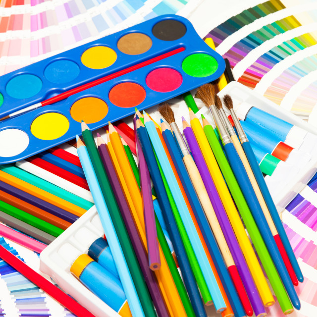 """pencils, paint and color chart of all colors"" stock image"