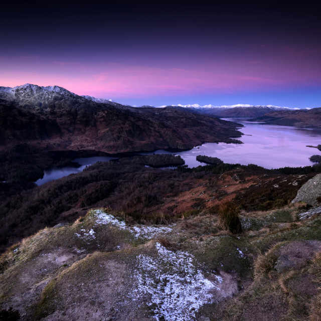 """Dawn over Loch Katrine, Ben A'Ag, Trossachs"" stock image"