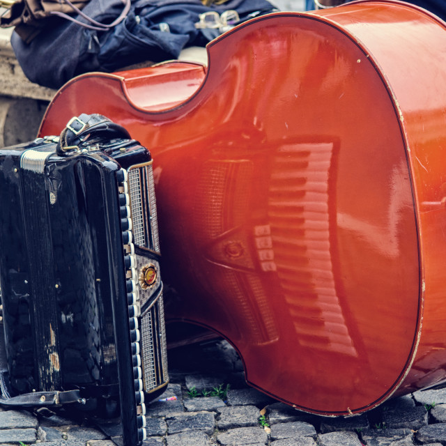 """Double bass and accordion in rome"" stock image"