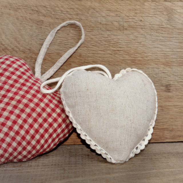 """two small heart pillows"" stock image"
