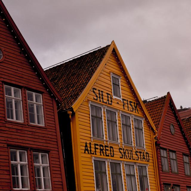 """""""Old buildings, Bryggen, Bergen"""" stock image"""