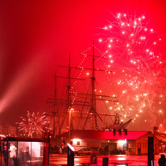 """Fireworks at New year in Bergen"" stock image"