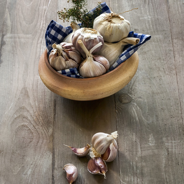 """garlic with rosemary"" stock image"