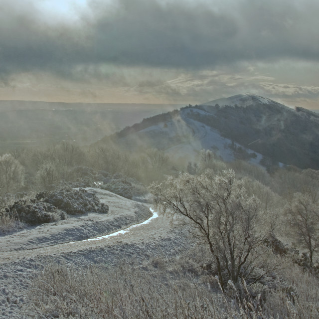 """Winter on the Malvern Hills"" stock image"