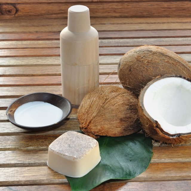 """soap and coconut milk for body care"" stock image"