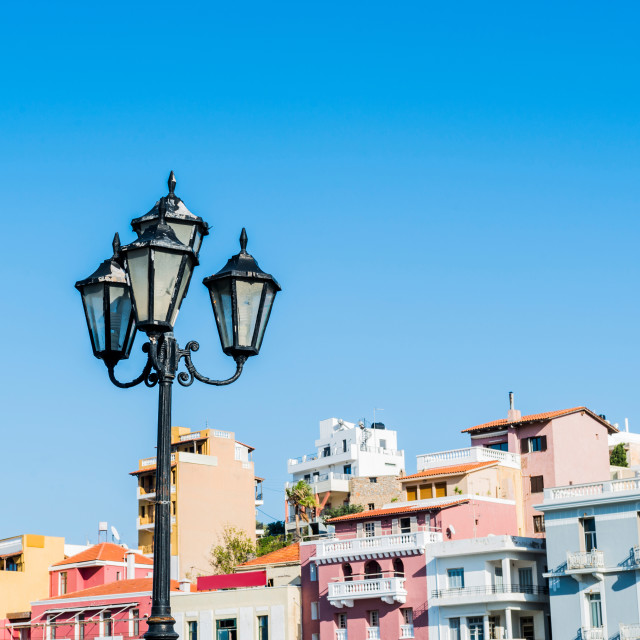 """Lamp in Agios Nikolaos"" stock image"
