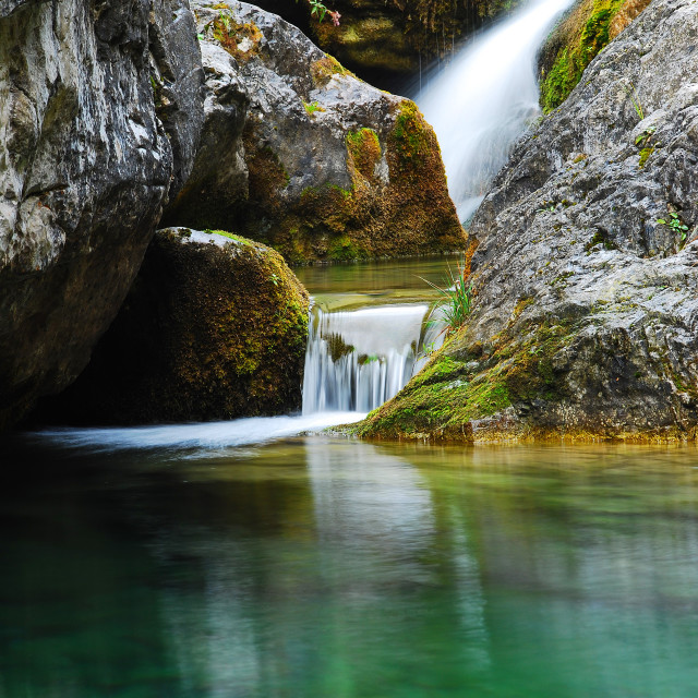 """Waterfall on Mt Olympus"" stock image"