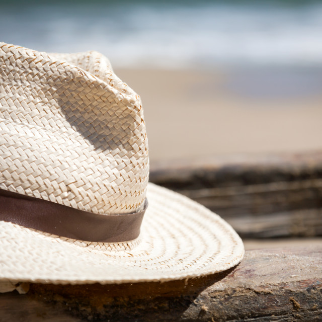 """""""Hat on the boat on the beach"""" stock image"""