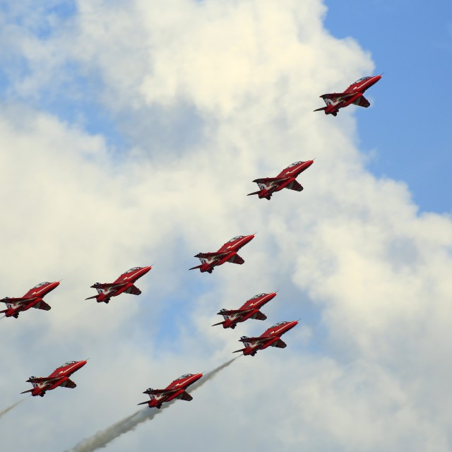 """Royal Air Force Red Arrows"" stock image"