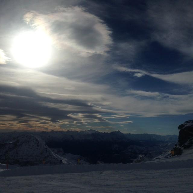 """Sunset skiing"" stock image"
