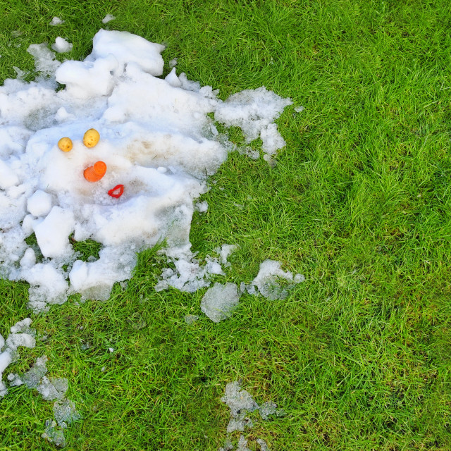 """Melted Snowman"" stock image"