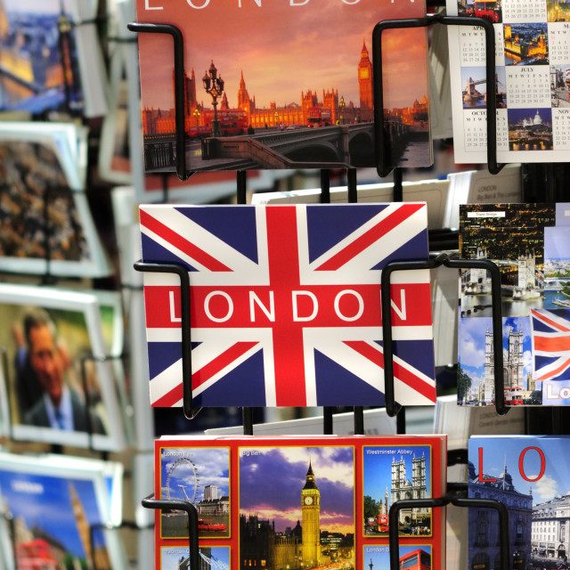 """""""London Postcards for Sale"""" stock image"""