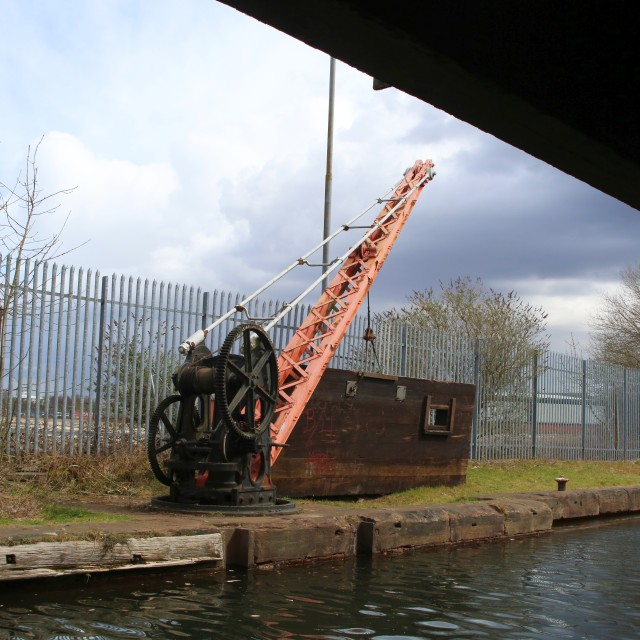 """Crane beside the Bridgewater Canal"" stock image"