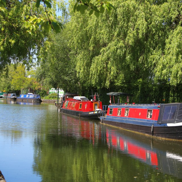 """Narrow Boats on the Bridgewater Canal"" stock image"