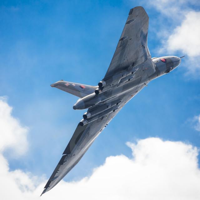 """Vulcan Bomber in Flight"" stock image"