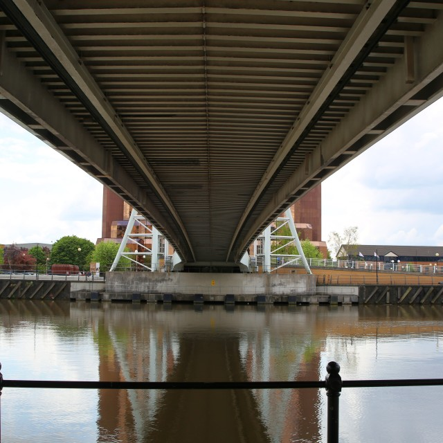"""Footbridge over the Manchester Ship Canal"" stock image"