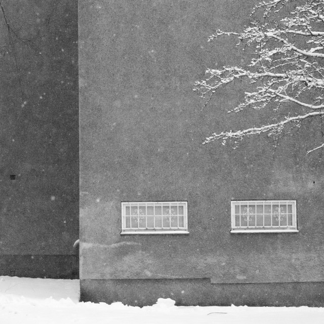 """""""Building in snow"""" stock image"""