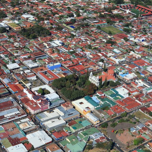 """Aerial view of San Jose suburb, Costa Rica"" stock image"
