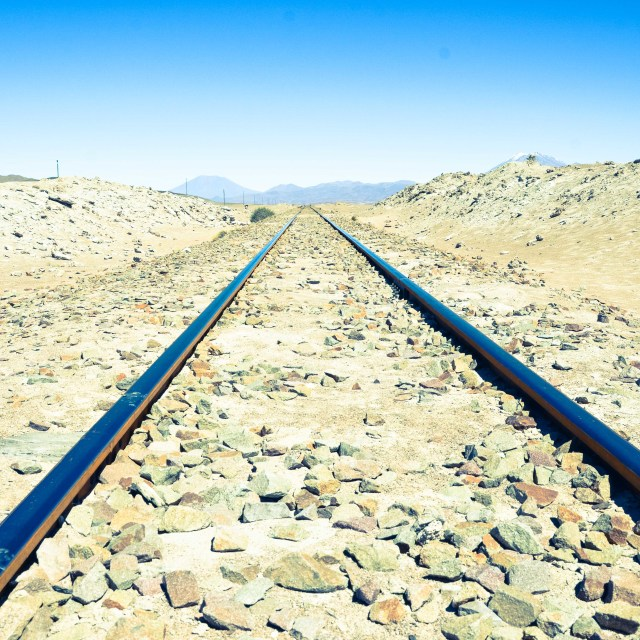 """Uyuni tracks"" stock image"
