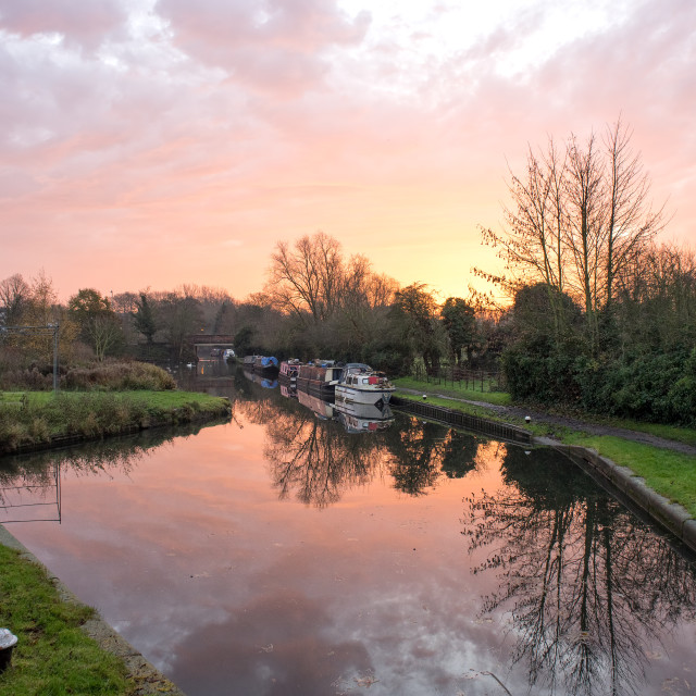 """Sunrise on the Grand Union Canal"" stock image"