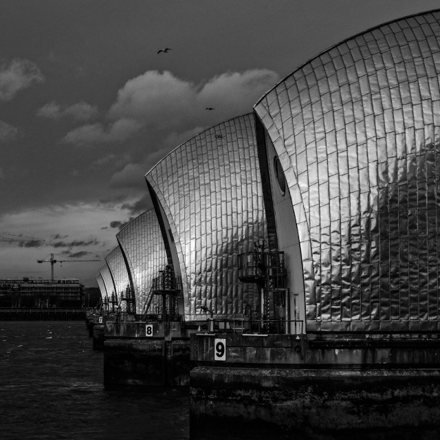 """Thames Barrier in black and white"" stock image"