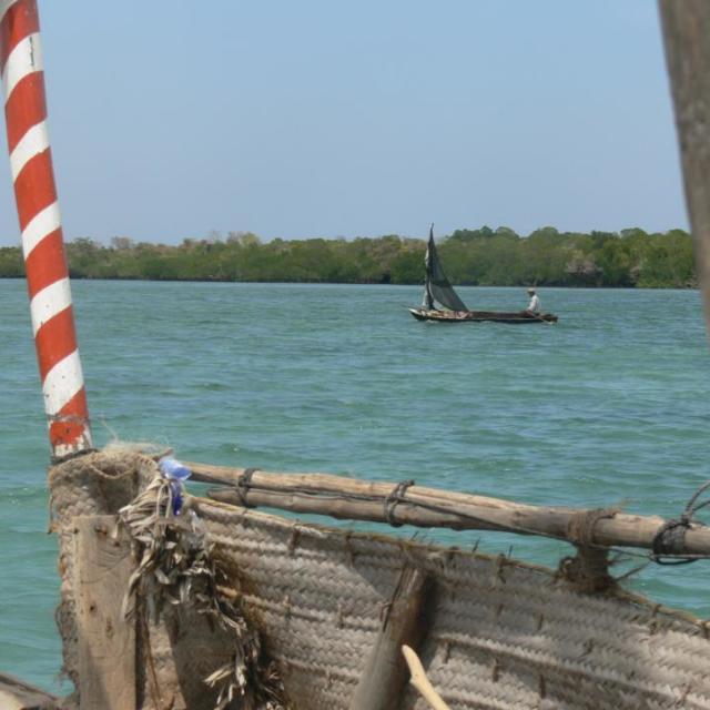"""""""Boatride in old boat in Africa."""" stock image"""