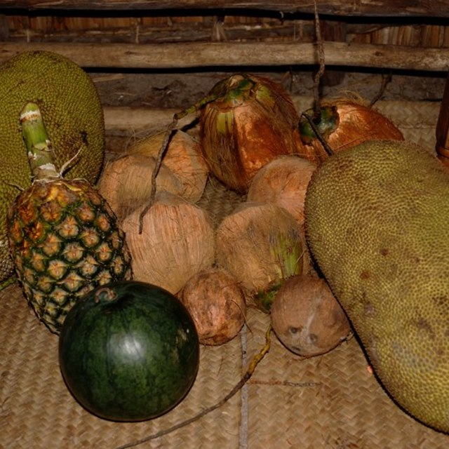 """""""Fruits; jack fruits, coconuts, watermelon, pineapple"""" stock image"""