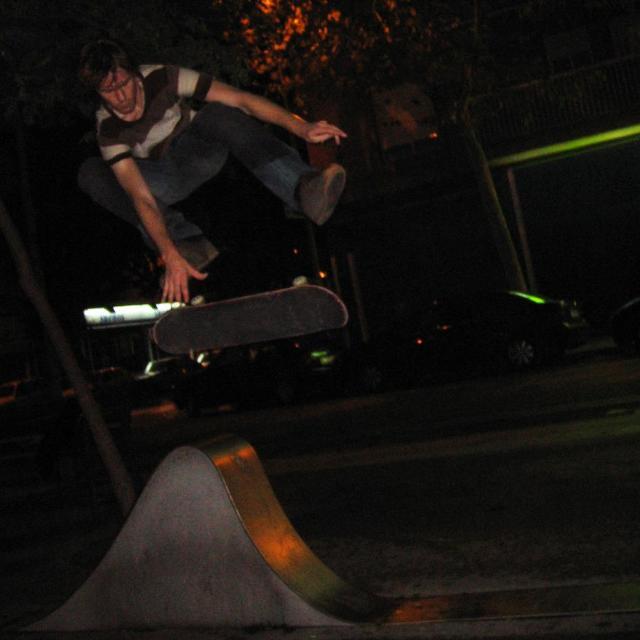 """""""Skateboarding on art sculpture in Barcelona"""" stock image"""