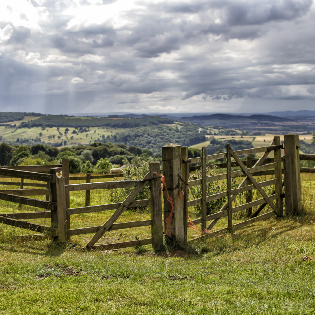"""Fence in beautiful landscape"" stock image"