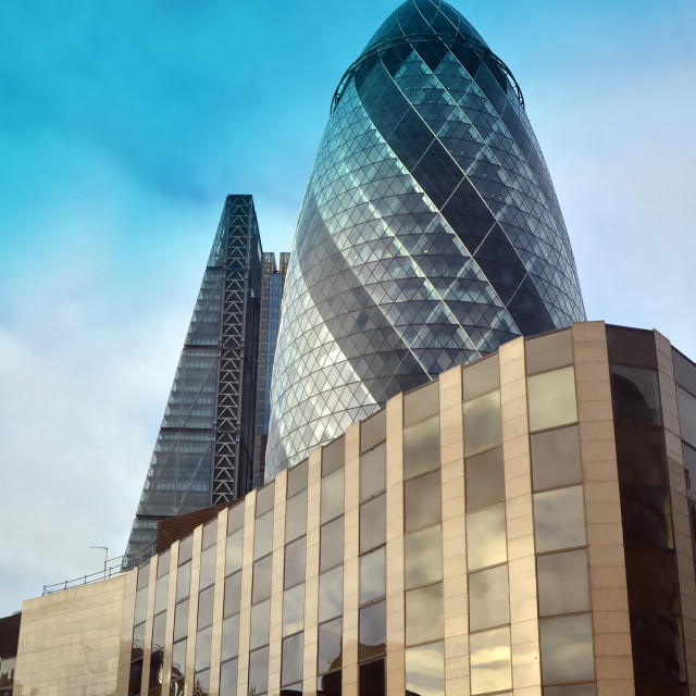 """""""London - England - New Skyscrapers at Financial District - The Gherkin and Leadenhall"""" stock image"""