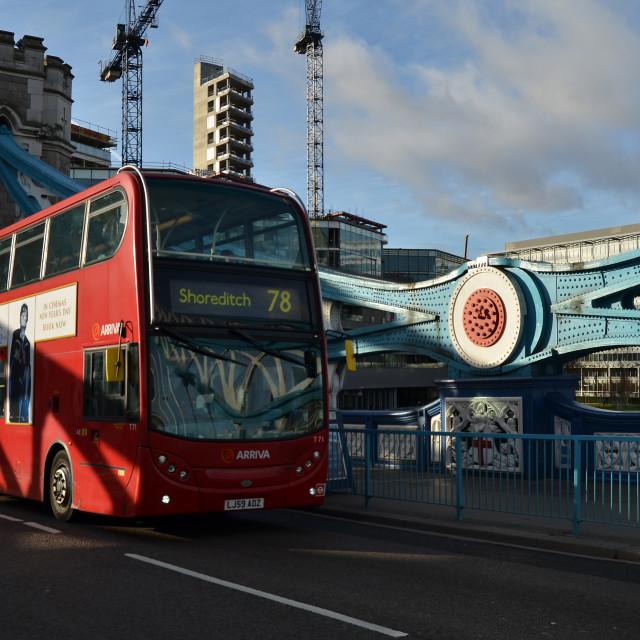 """Iconic London - Bus and Bridge"" stock image"