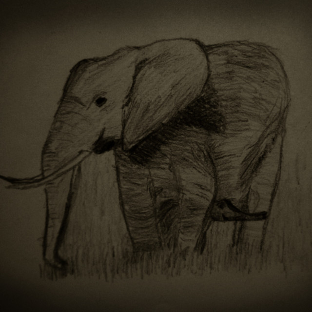 """Drawing; Elephant mom with baby"" stock image"
