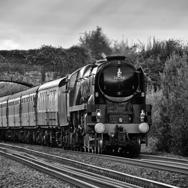 """Rebuilt West Country Class No.34046 Braunton"" stock image"