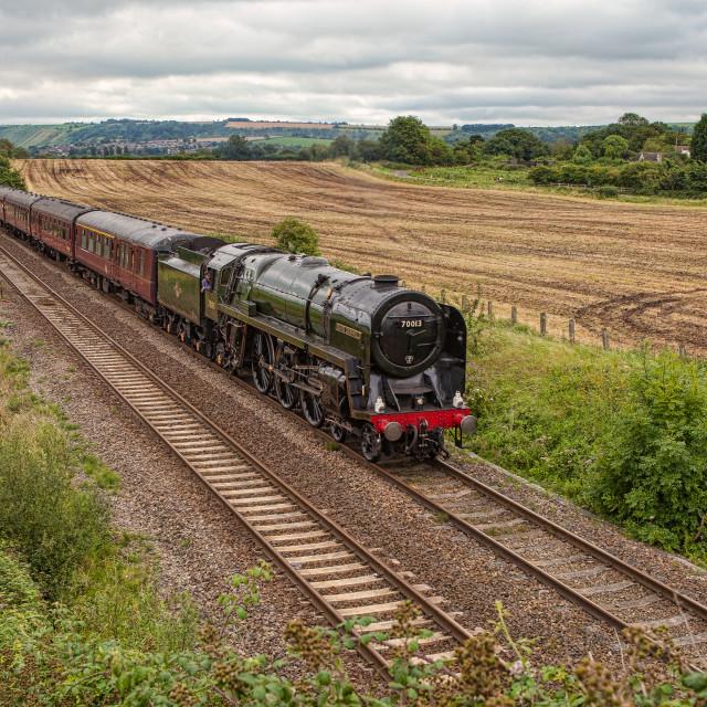 """""""BR Britannia Class No.70013 Oliver Cromwell"""" stock image"""
