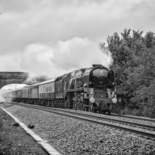"""Rebuilt West Country Class No. 34046 Braunton"" stock image"
