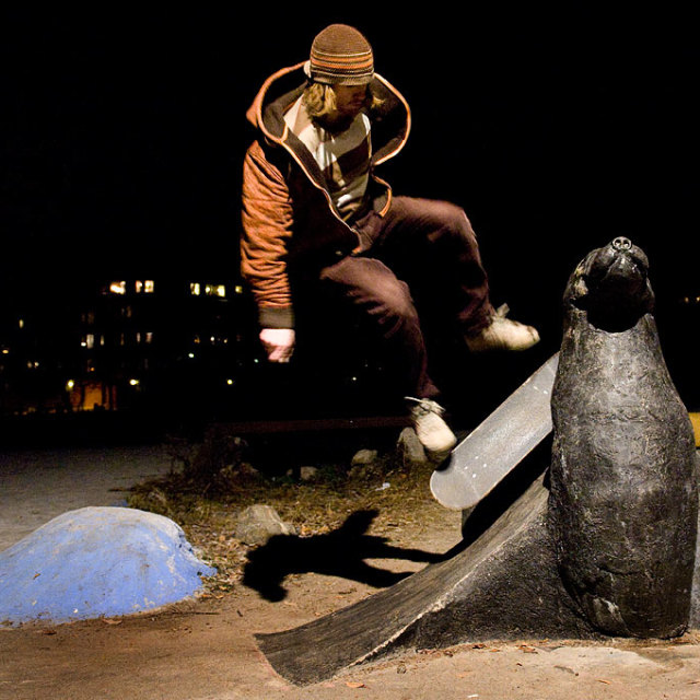 """Skateboard on seal sculpture"" stock image"
