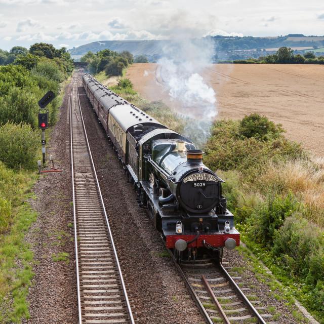 """""""GWR Castle Class No. 5029 Nunney Castle"""" stock image"""