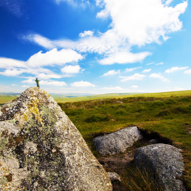 """Dartmoor's Smallest Cross"" stock image"