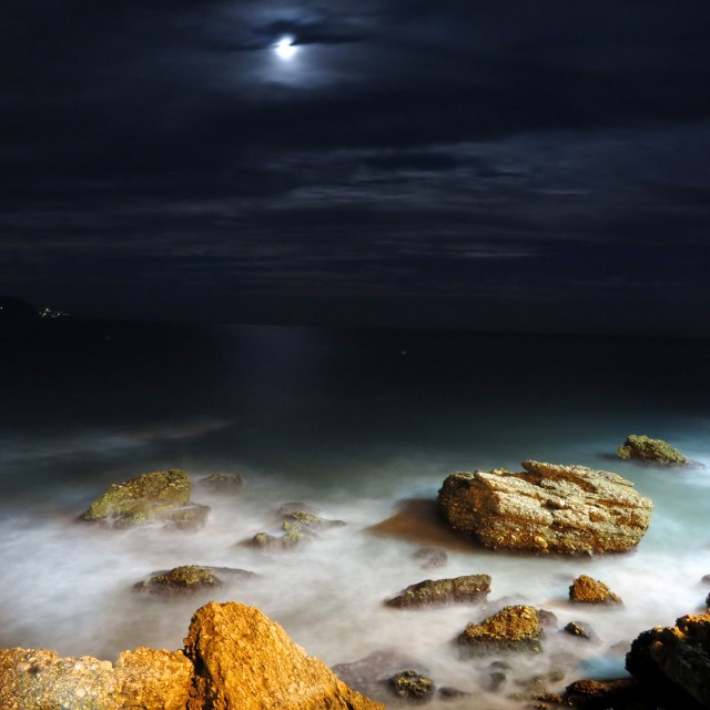 """moon on the rocks"" stock image"