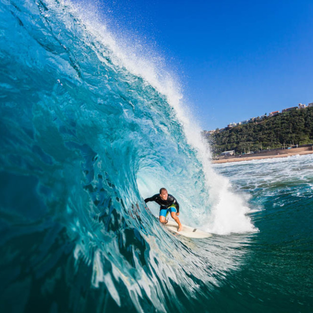 """Surfing Inside Wave"" stock image"