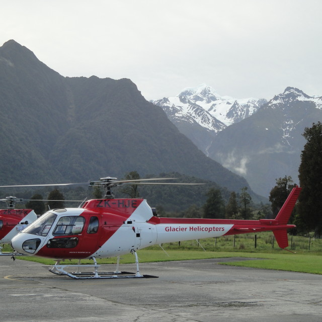 """""""Glacier helicopters"""" stock image"""
