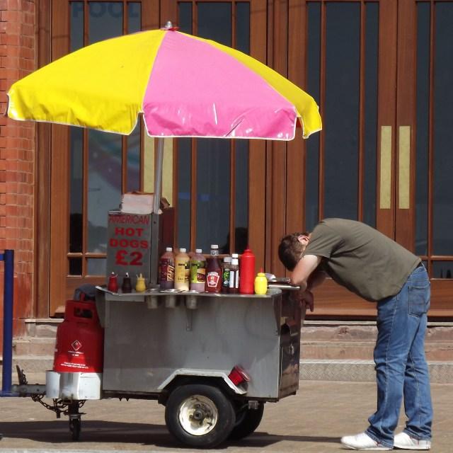 """Hot dog seller"" stock image"