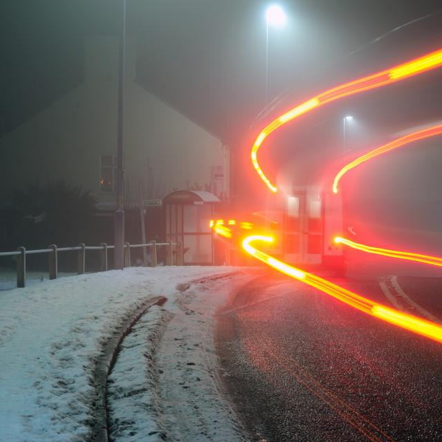 """Night Driving Winter ."" stock image"