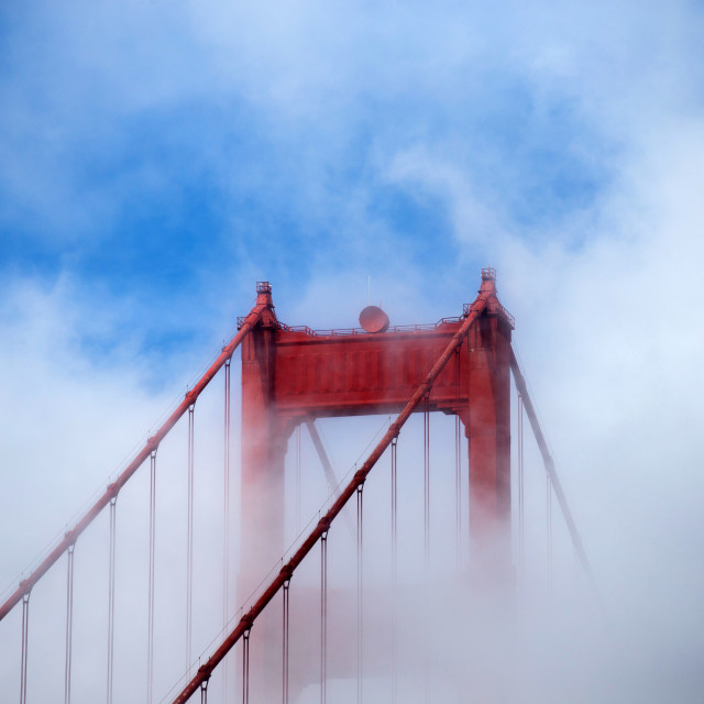 """The Golden gate bridge on a misty day"" stock image"